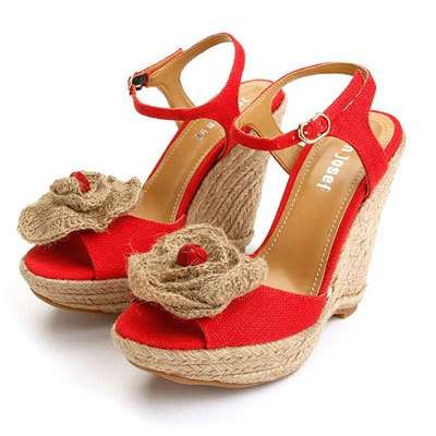 beautiful red wedge sandal
