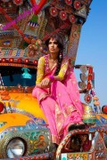 green and pink mendhi dresses