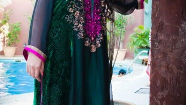 Black Embroidered Dress by Muzna Hameed 004