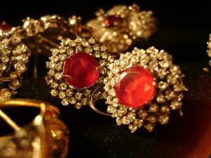 Earrings studded with rubies and Zircons 0021 300x225
