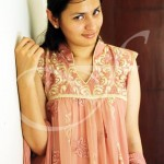 baby pink shirt with crushed dupatta