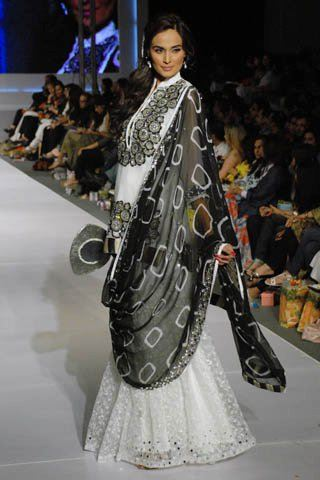 black and white lengha dress