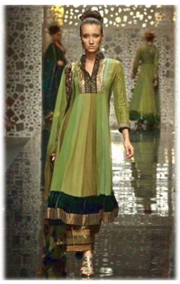 multi coloured green frock