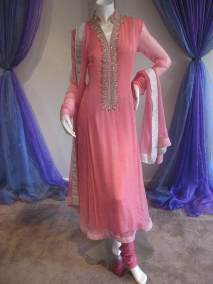 pink frock with neck work 48 fashion trends