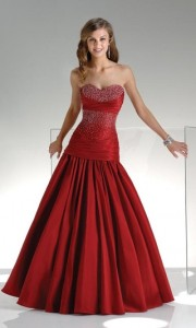 strapless red bridal ball gown 180x300