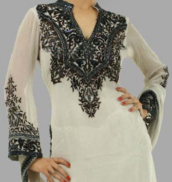 white dress with blck threa work75 stylish dresses