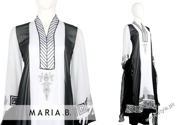 black and white dresses by Maria B 493 designer maria b