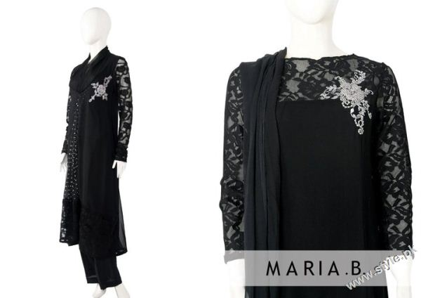 black dress by Maria b 7432 designer maria b