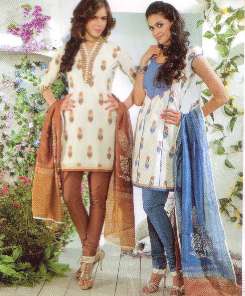 Latest Fashion Stitched Summer Suits 2012 by Mansha a designer dresses