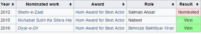 Mikaal Zulfiqar Awards
