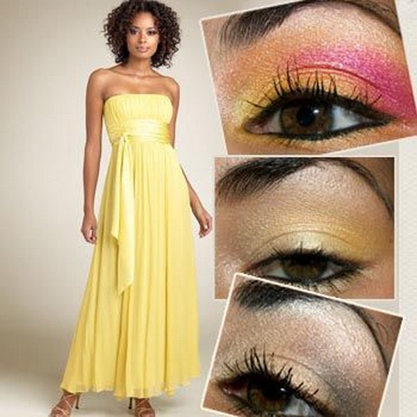 Makeup for a yellow prom dress