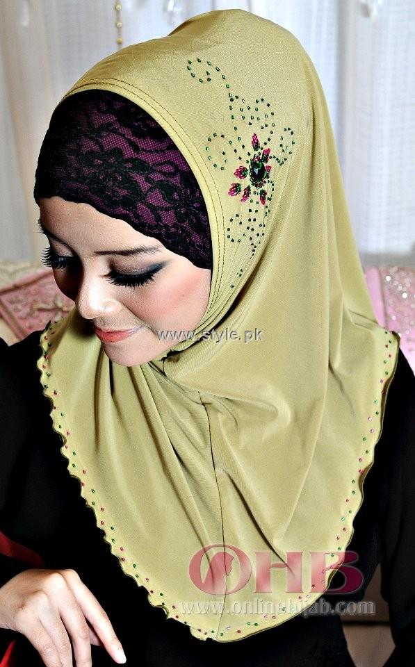 Fashion Of Head Scarves and Hijab Designs 2013 For Girls