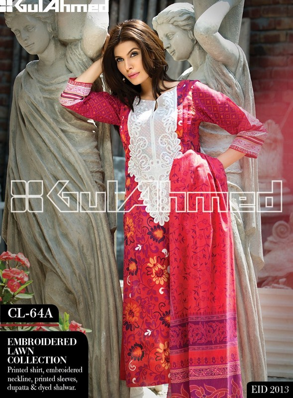 Gul Ahmed Normal Lawn Eid Collection 2013 For Women 007