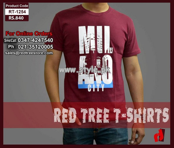 Red Tree Casual Tee Shirt Collection 2013 For Men 010