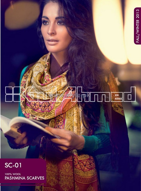 Gul Ahmed Latest Pashmina Scarves Collection 2013 For Women11
