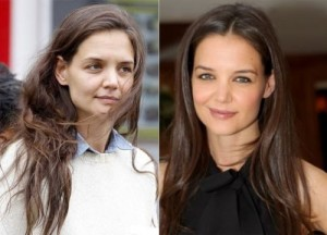 Katie Holmes With&without makeup