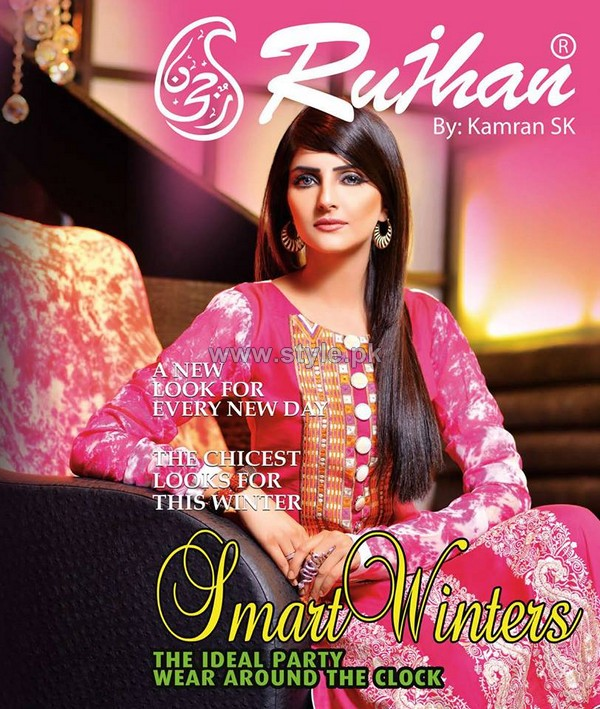 Rujhan Fabric Winter Dresses 2014 For Girls 3