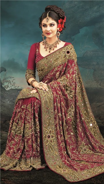 Latest Designs Of Indian Bridal Sarees 2014 For Women 008