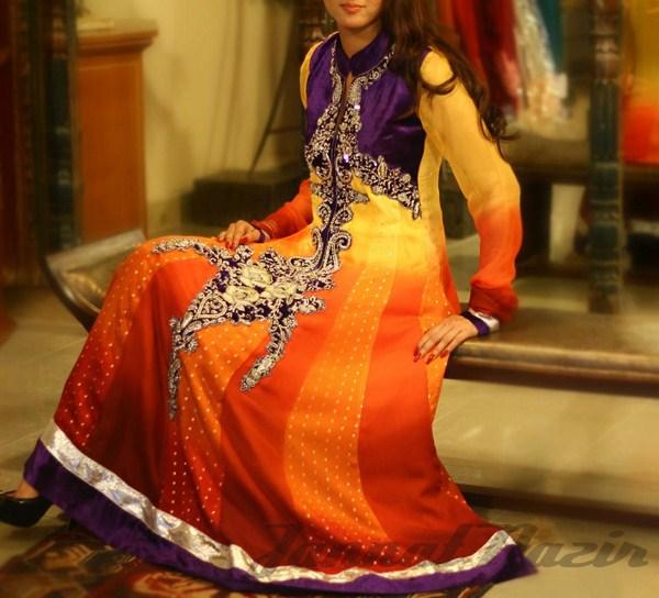 Pakistani Long Sleeve Dresses 2014 For Women 009