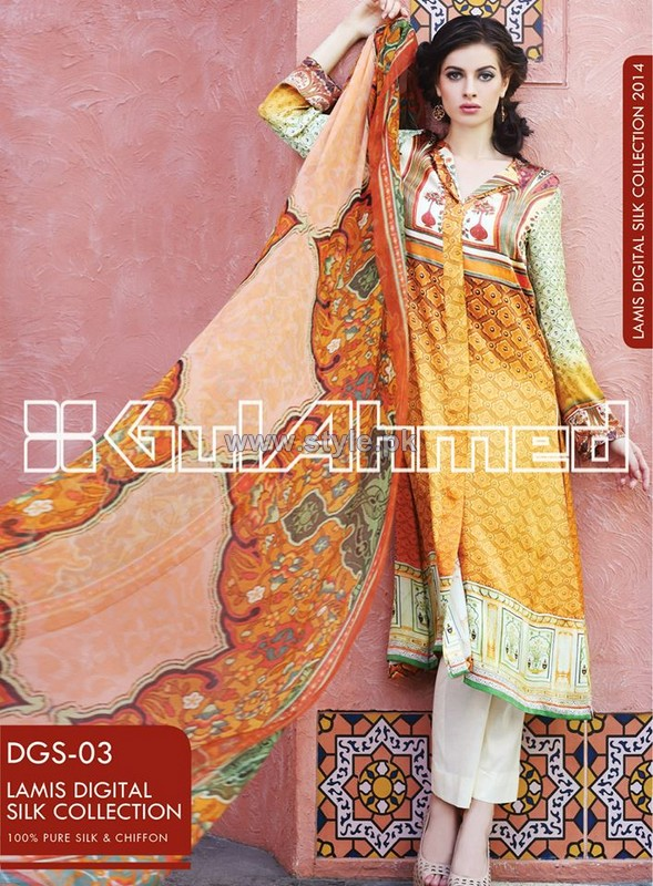 Gul Ahmed Digital Silk Dresses 2014 For Women 5