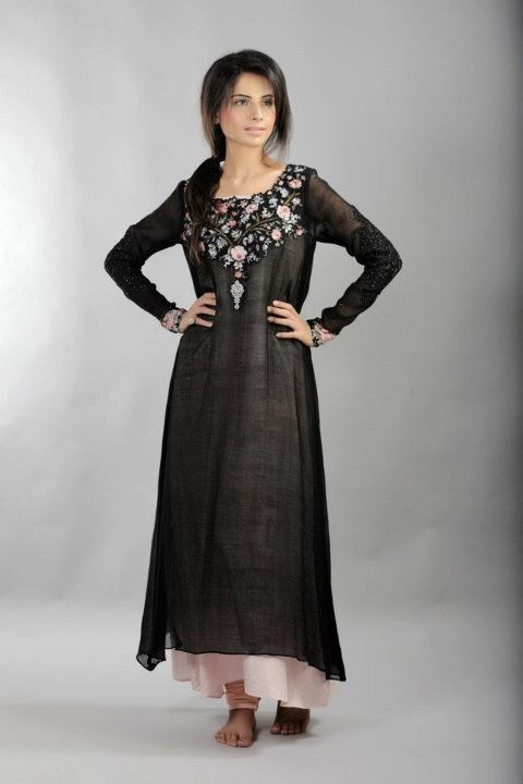A long black dress pakistani