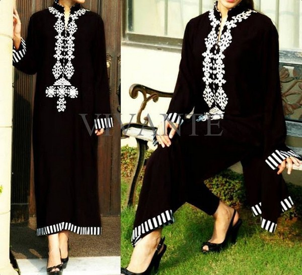 Pakistani Black And White Dress Designs For Girls 003