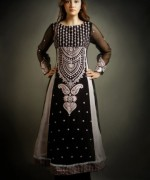 Pakistani Black And White Dress Designs For Girls 006