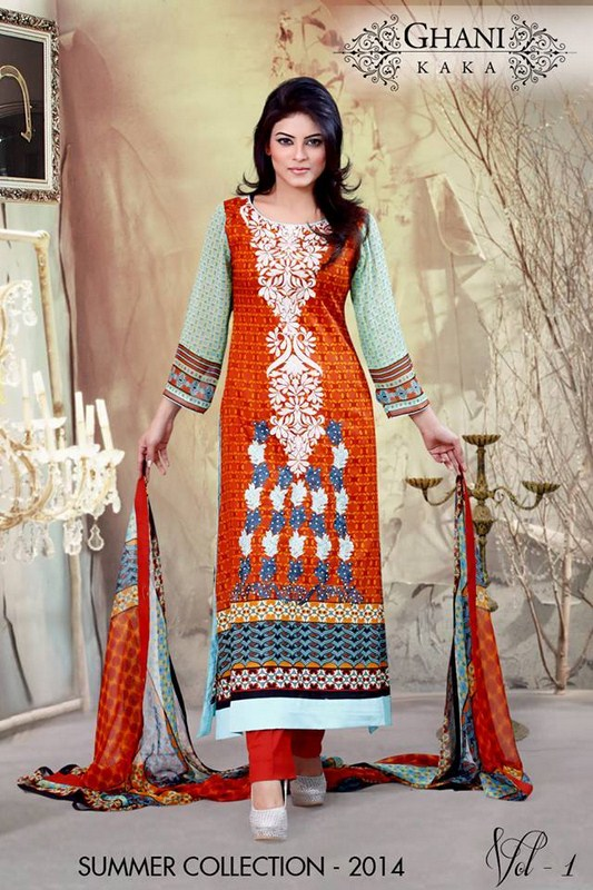 Ghani Textile Lawn Dresses 2014 Volume 1 For Women 0014