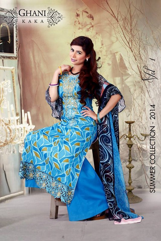 Ghani Textile Lawn Dresses 2014 Volume 1 For Women 008