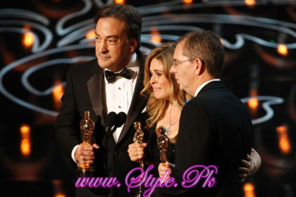 Peter Del Vecho, Jennifer Lee and Chris Buck accepted award for Best Animated Movie Frozen