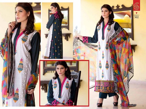 Rujhan Fabric Parisha Lawn Collection 2014 Volume 3 For Women 002