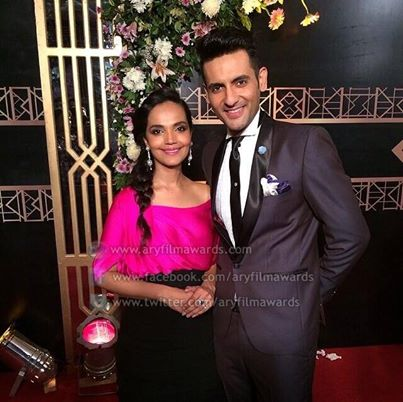 The made for each other couple Muhib and Amna at the ARY Film Awards 2014