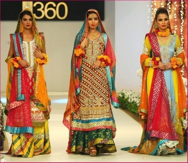 Trends of Multi Color Mehndi Dresses 2014 009