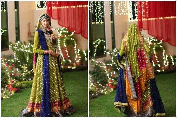 Trends Of Green Mehndi Dresses 2014 For Women 001