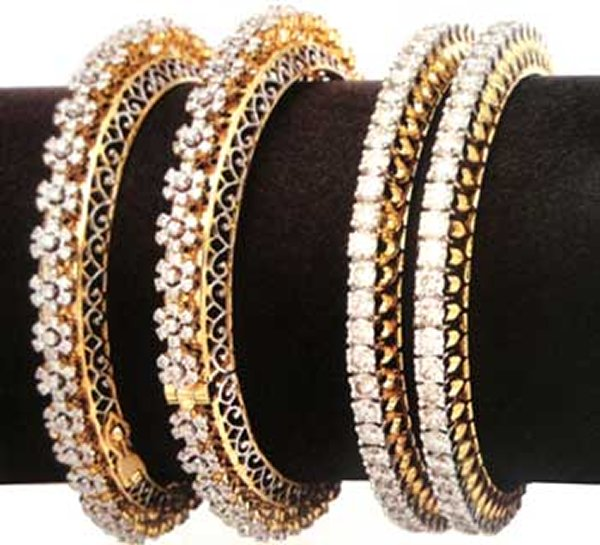 Designs Bridal Diamond Bangles 2014 For Women