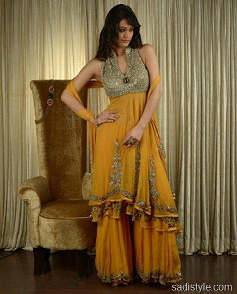 Fashion Of Sharara Mehndi Dresses 2014 For Women 008