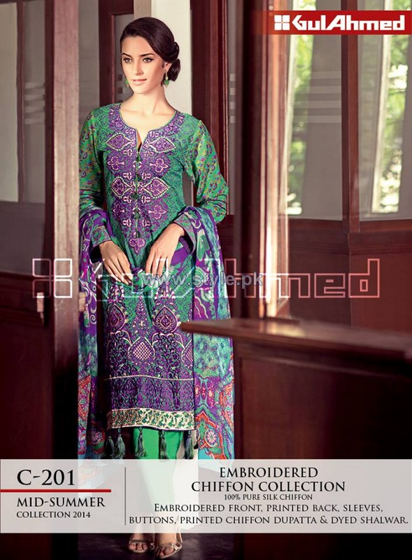 Gul Ahmed La Chiffon Dresses 2014 For Mid Summer 4