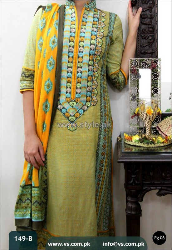 VS Textiles Designer Lawn Dresses 2014 For Mid Summer 1