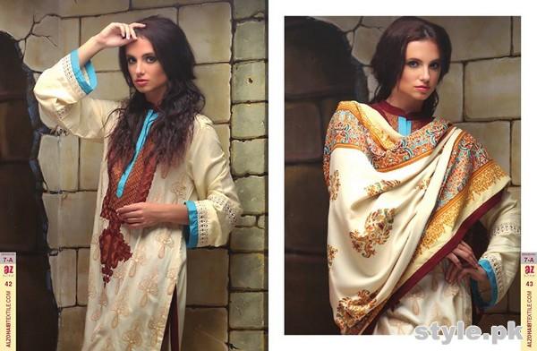 Ayesha Zara Woven Shawl Dresses 2014 by Al-Zohaib Textile 6