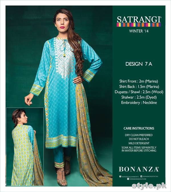 Bonanza Satrangi Winter Dresses 2014-2015 For Girls 6