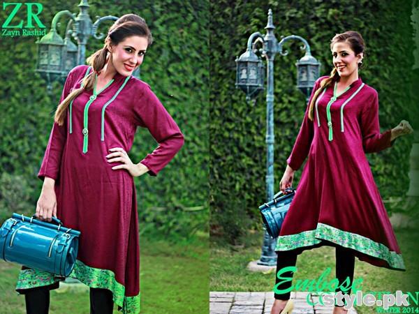 Zayn Rashid Embose Winter Dresses 2014 For Girls 5