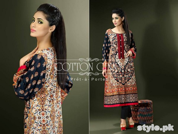 Cotton Ginny Digital Print Dresses 2014 For Winter 2