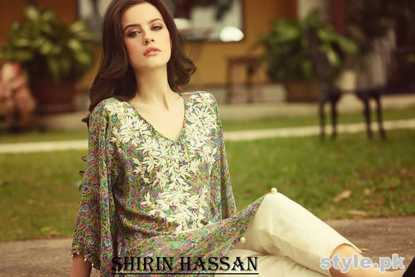 Shirin Hassan Digital Print Dresses 2015 For Winter 5
