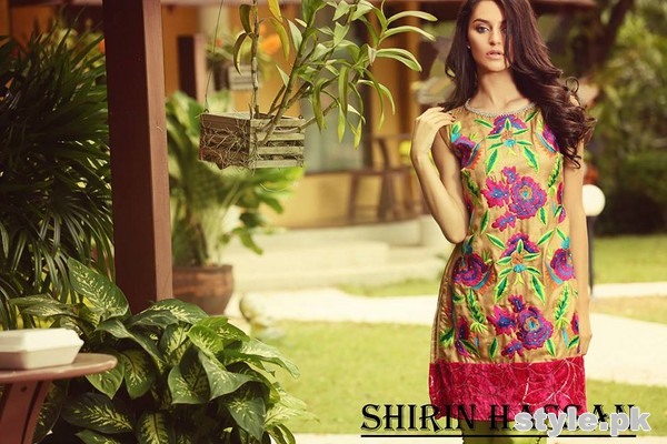 Shirin Hassan Digital Print Dresses 2015 For Winter 6