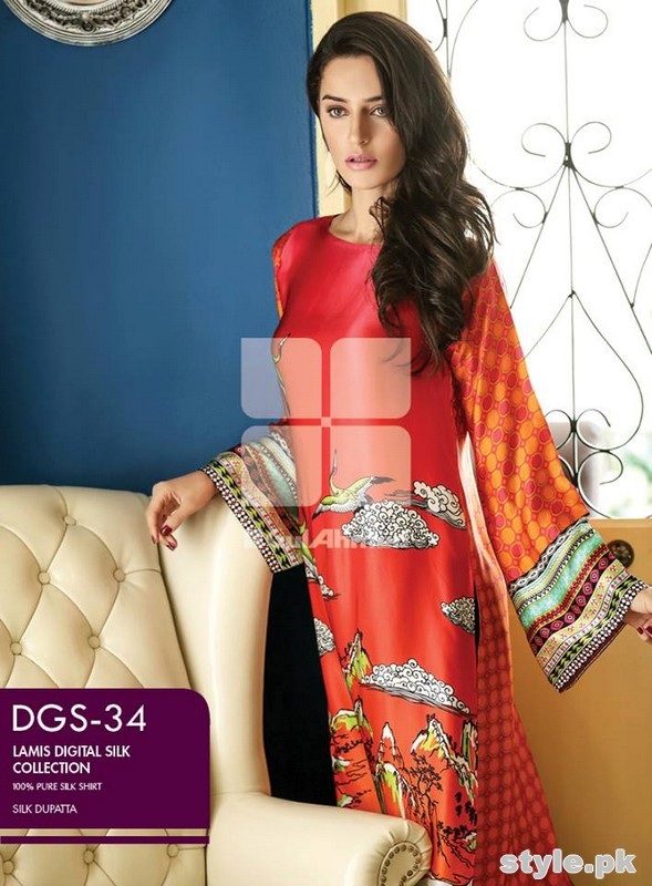 Gul Ahmed Lamis Digital Silk Dresses 2015 For Women 2