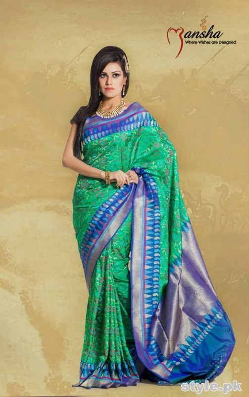 Latest Designs Of Banarsi Sarees 2015 In Pakistan 8