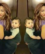 mathira with her baby