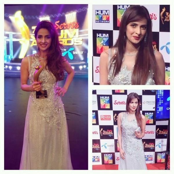 saba qamar at red carpet of hum tv awards