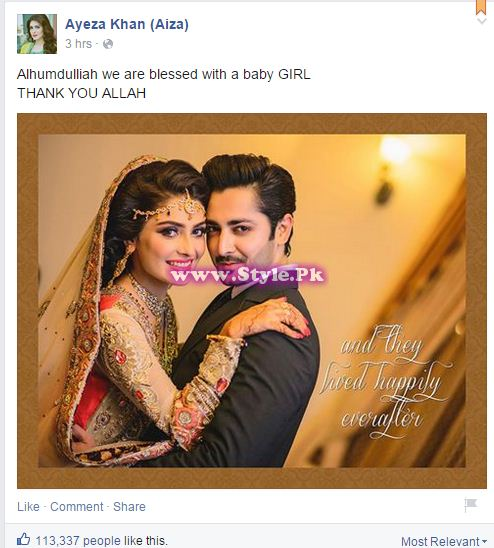 See Ayeza Khan and Danish Taimoor became parents of a little angel