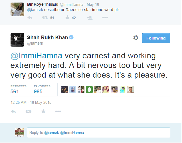 See what SRk says about Mahira Khan